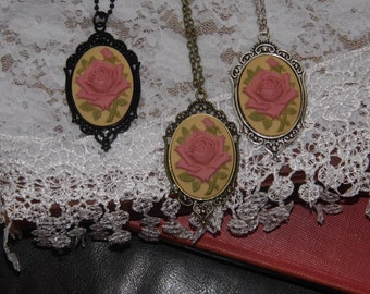 Victorian glass art Grandmas Jewelry Box Collection Mauve rose cameo Necklace Altered Art