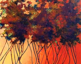 Burning Sky 20x20 Original Acrylic Painting