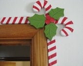 Candy canes, Christmas, door frame hanger, shelf sitter, red, white, holly leaves, holly berries