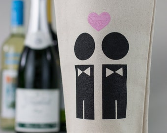 Wine Tote - Recycled Cotton Canvas - Groom & Groom Wedding