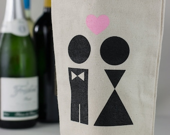 Wine Tote - Recycled Cotton Canvas - Bride & Groom Wedding