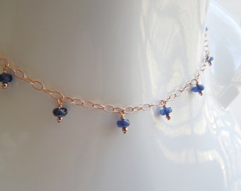Blue Kyanite and 14K Rose Gold Filled Layered Necklace