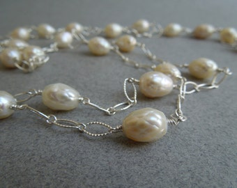 Long Pearl Necklace: Yard of Faceted Pearls- Sterling Silver Chain