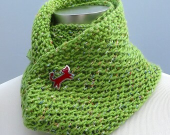 On Sale 25% off: Hand knit infinity scarf, spring green