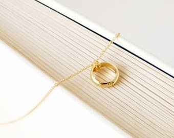SALE Gold Ring Necklace. Gold Ring Charm. Ring Pendant. Celebrity Style Jewelry. Love Necklace. Gold Ring. Bridesmaid Jewelry. Gift Under 30