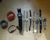 Lot of Eleven Watches Watch Destash Salvage Mixed Media Steam Punk  Watch Band Timex