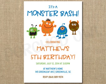 Monster Bash Birthday Invitation - Boy - Children - Birthday Party - Digital File