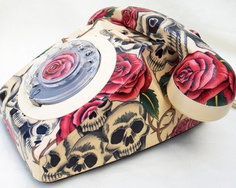 Made to Order Skulls & Roses Upcycled Vintage Rotary Phone FULLY WORKING.
