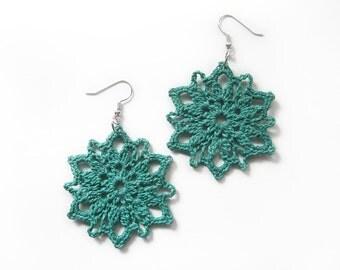 Teal Lace Earrings - Flower Motif, Large Dangle, Turquoise Blue Cotton - Crochet Statement Boho Beach Summer Fashion