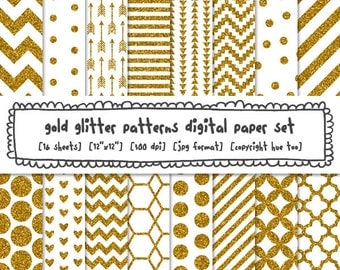 gold and white patterns digital paper, gold glitter digital backgrounds for invitations scrapbooking or graphic design, instant download 568