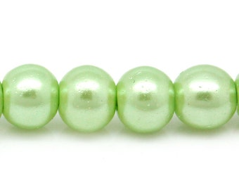 CLEARANCE 220 pieces 1 Strand 4mm Mint Green Round Glass Loose Beads (BD505)