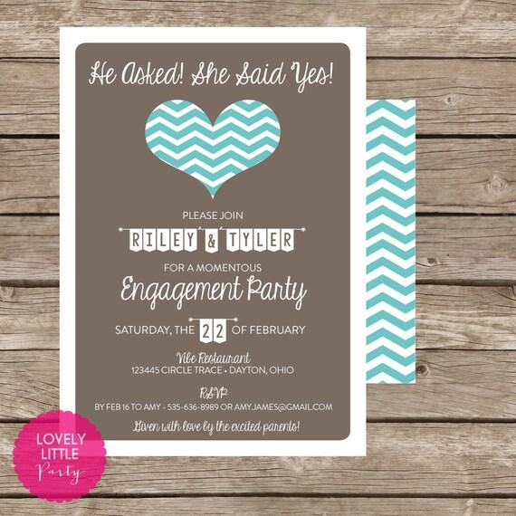 Printable Chevron Heart Engagement Invitation -  Lovely Little Party