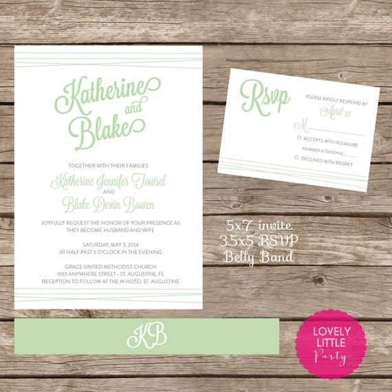 Katherine Collection Wedding Invitation Design - DIY Printable - Lovely Little Party - You Choose Color