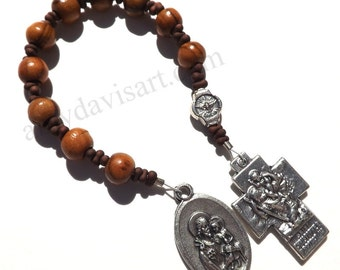 Olive Wood Rosary, One Decade Rosary, Tenner, Holy Family St. Christopher Cross, Catholic Man, Confirmation, First Commuion, Wooden Rosary