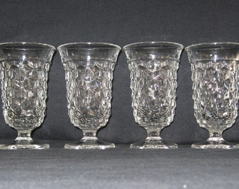 "Fostoria no. 2056 American 5 3/4"" 5 oz. Footed Juices (Set of Four) in Excellent Condition"
