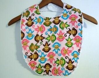 Pink Monkey Toddler Bib - Toddler Girl Bib