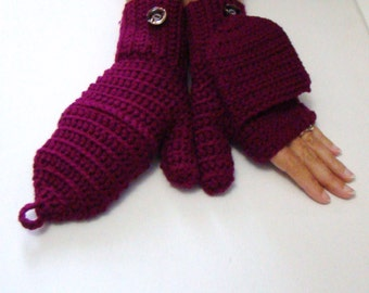 Boysenberry Convertible Fingerless Mittens, Crochet Glittens, Texting Gloves, Flip Top Mittens, Fingerless Gloves, Cycling Mitts