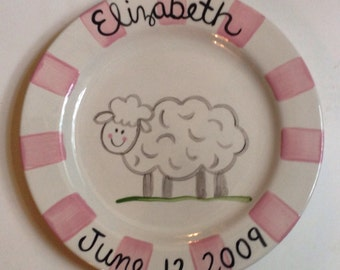 Personalized Pink Lamb Birth Plate