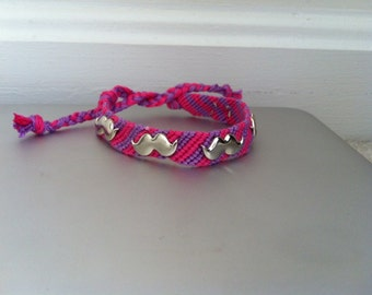 Mustache Stud Bracelet - Pink and Purple Striped