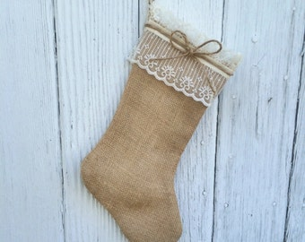 Burlap & Lace Christmas Stocking-Personalize with a Name-Shabby Chic-Natural/Folk/Country/Rustic-Burlap Christmas Decor