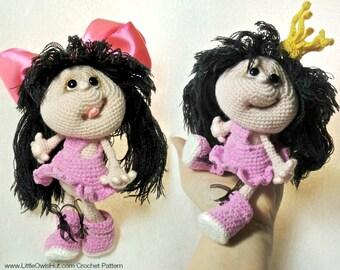 041 Crochet Pattern Princess Doll.  Amigurumi Toy - PDF file by Pertseva Etsy