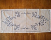 Elegant Vintage Swedish Hand Made Table Runner  Embroidery - Spring Table Linens Easter Swedish Folk Art Flowers - Cotton -  Floral Mandala