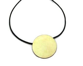 Large Gold Disc Necklace, 18K Gold Pendant Necklace, Bi-metal Pendant, Artisan Handmade by Sheri Beryl