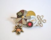 SALE - Steam Punk Silver Key Owl Pin