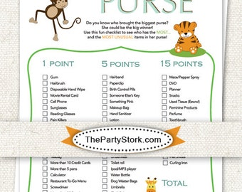 INSTANT DOWNLOAD Safari Baby Shower Games: Points in Your Purse, Printable DIY File, Invitation also available
