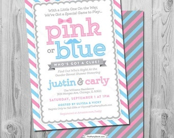 Pink or Blue Gender Reveal Invitation: Printable Baby Shower Invite with mustache and bow, blue, pink, stripes, more Invitations available