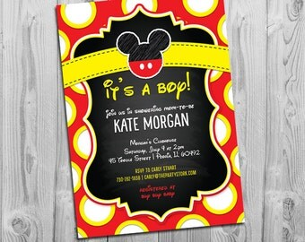 Mickey Mouse Baby Shower Invitation | Printable Chalkboard Style Invite | Red Black Yellow White Polka Dots | Boy or Girl | FREE Back