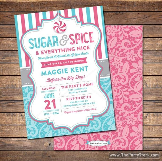 printable baby shower invitations sugar and spice baby girl shower