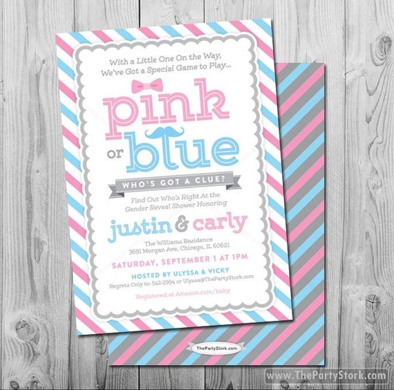 Pink or Blue Gender Reveal Invitation: Printable Baby Shower Invite