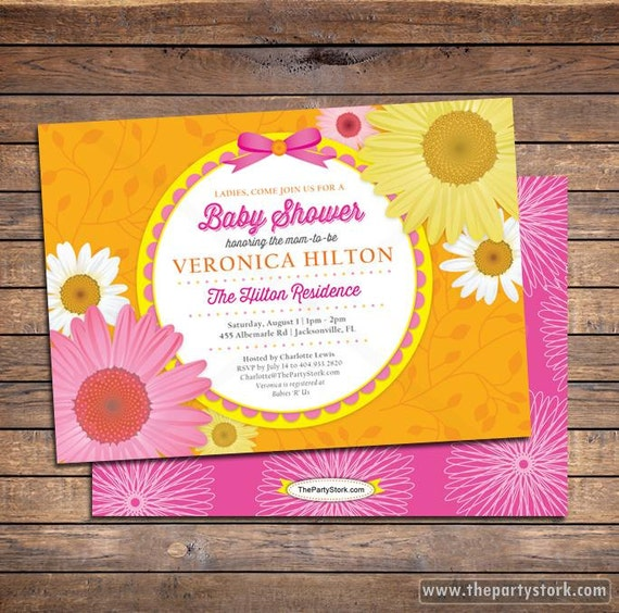 Daisy Flower Baby Shower Invitations With FREE Back. Orange