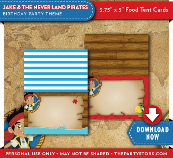Jake and the neverland pirates food tent cards pirate birthday il570xn filmwisefo