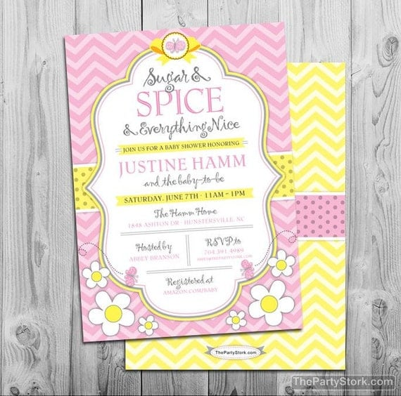sugar and spice girl baby shower invitation printable pink