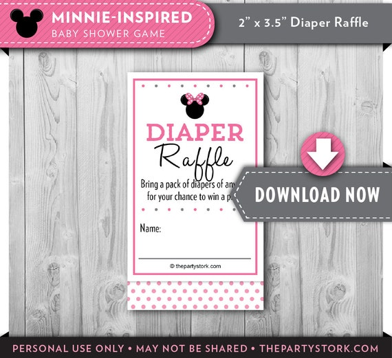 Minnie Mouse Baby Shower Diaper Raffle Ticket Pink Black