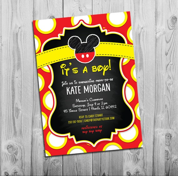 mickey mouse baby shower invitations, boy baby shower invitation, Baby shower invitations
