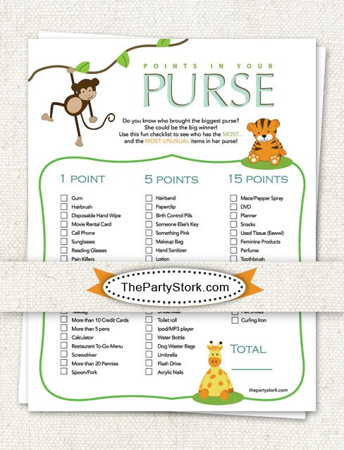 download safari baby shower games points in your purse printable diy