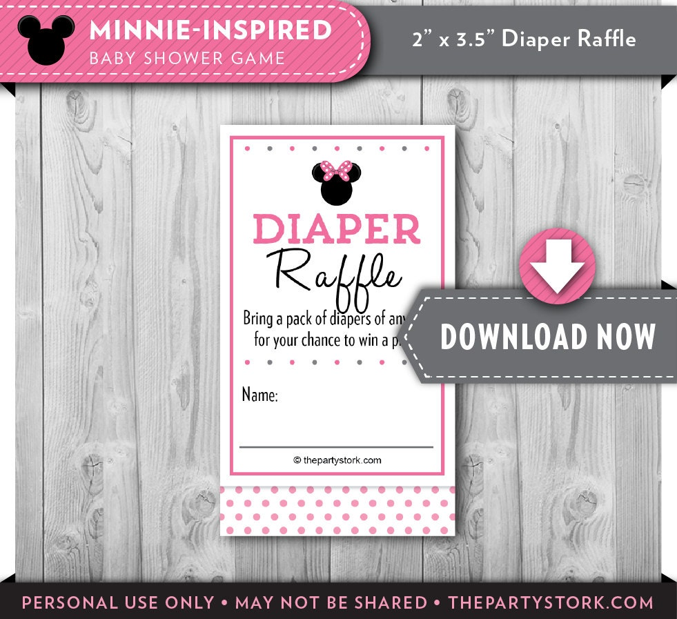 Baby Shower Diaper Raffle: Minnie Mouse Baby Shower Diaper Raffle Ticket Pink Black