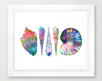 SEASHELL LOVE - I  Art Print, beach, Ocean by SchatziBrown