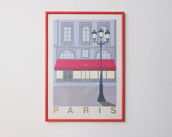 Large Paris France Modern Art Deco 1980s King Posters UK Cherry Red Framed Screen Print Poster