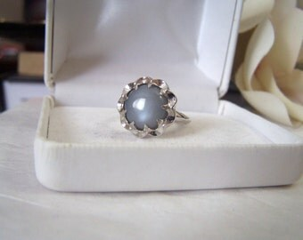 Moonstone & Sterling Ring Artisan Altered Authentic Vintage Clark and Coombs Genuine Gemstone