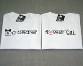 SALE - Ring Bearer Black Bow Tie and Flower Girl Pink Center Flower Personalized Wedding T-Shirts : 2 Shirts For 20 Dollars