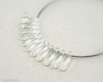 Crystal Clear Daggers 10mm (50) Czech Glass Beads Ice Teardrop Fang Spike Neutral
