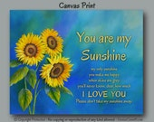 You are my sunshine Wall art Canvas art print, Sunflower decor, Blue & yellow laundry room decor, Country, Shabby Cottage Chic wall decor