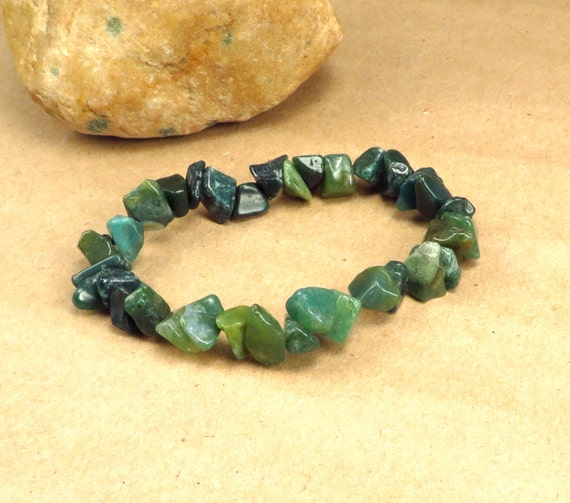 Moss Agate Chip Stretch Bracelet - Heart Chakra -  Reiki Infused Jewelry May Birthstone - Self Esteem