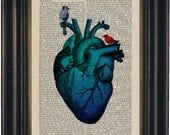 Blue Heart and Birds  Print on upcycled  1870's encyclopaedia History of England  mixed media digital Page