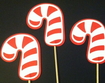 12 candy cane cupcake toppers, christmas cupcake toppers