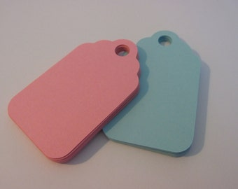 "Set of 30 baby blue and baby pink  2.5x 1.5"" tags - baby shower tags-machine cut blank cardstock, die cut tags"